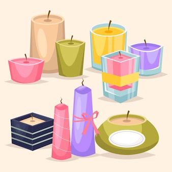 Detailed scented candle set