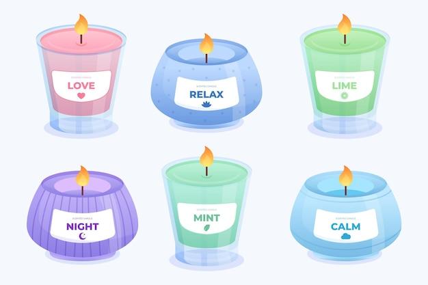 Set di candele profumate dettagliate