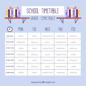 Detailed school timetable