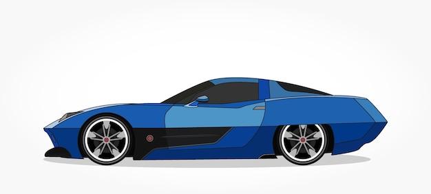 Detailed side of a flat blue sedan car cartoon with shadow effect