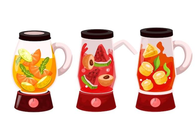 Frullati dettagliati nel set di bicchieri per frullatore