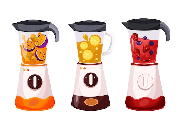 Frullati dettagliati nel set di bicchieri per frullatore Vettore gratuito
