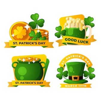 Detailed st. patrick's day label set