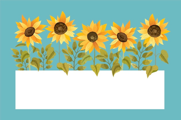 Detailed sunflower border with empty space Premium Vector