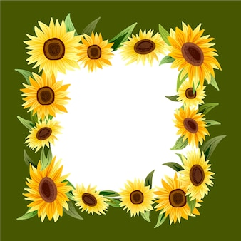 Detailed sunflower border with empty space Free Vector