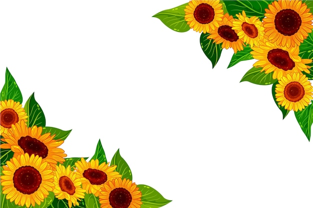 Detailed sunflower border with empty space