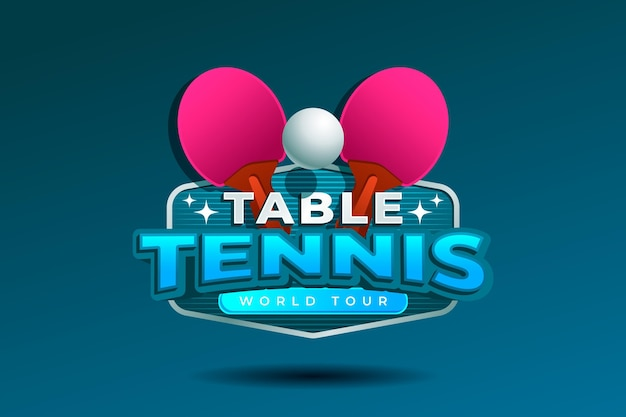 Detailed table tennis logo design