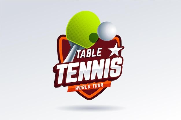 詳細な卓球ロゴのスタイル