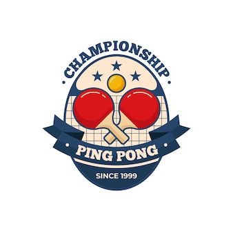 Detailed table tennis logo template