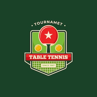 Detailed table tennis tournament logo template