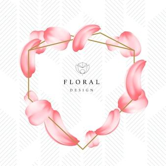 Подробные нежные лепестки роз или сакуры с рамкой романтическая цветочная композиция с цветочным дизайном