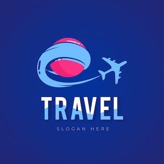 Detailed travel logo with airplane