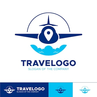 Detailed travel logo with plane