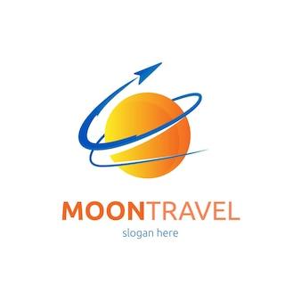 スローガンのプレースホルダー付きの詳細な旅行ロゴ