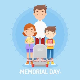 Illustrazione dettagliata del memorial day degli stati uniti