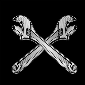 Detailed vector illustration of a wrench.