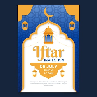 Detailed vertical iftar invitation template