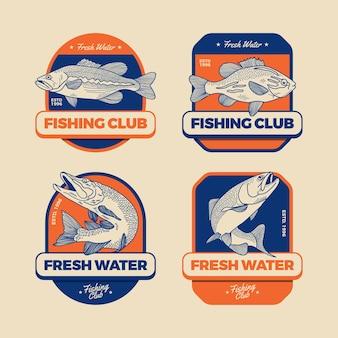 Collezione dettagliata di badge da pesca vintage