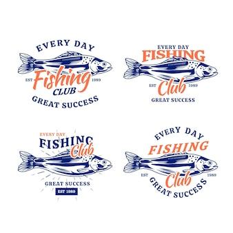 Подробная коллекция старинных рыболовных значков Premium векторы