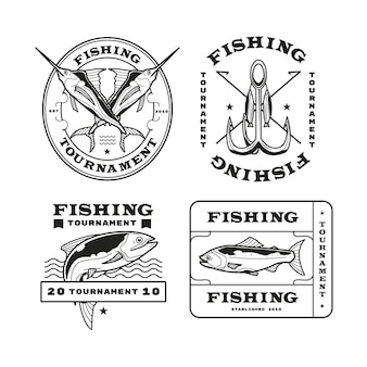 Detailed vintage fishing badge collection