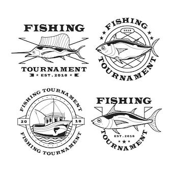 詳細なヴィンテージ釣りバッジコレクション