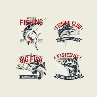Подробная коллекция старинных рыболовных значков