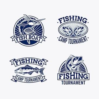 Pacchetto distintivo di pesca vintage dettagliato