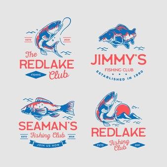 Detailed vintage fishing badge set