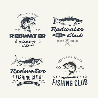 Detailed vintage fishing badges collection