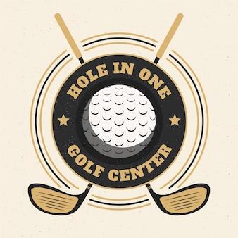 Подробный винтажный шаблон логотипа гольфа