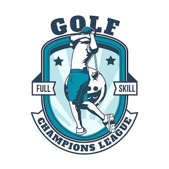 Modello di logo di golf vintage dettagliato