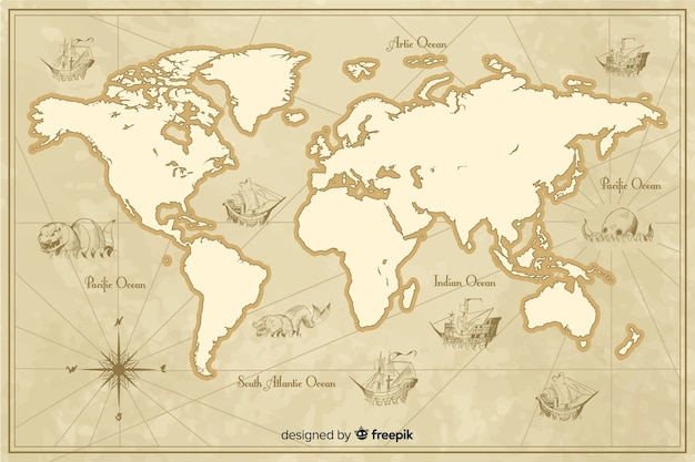 Detailed vintage world map theme