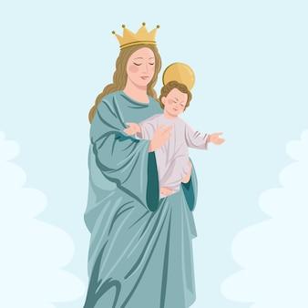 Virgen delcarmenの詳細なイラスト