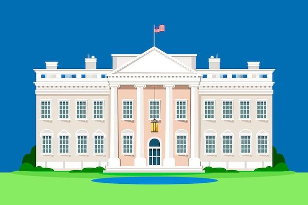 Detailed white house illustration