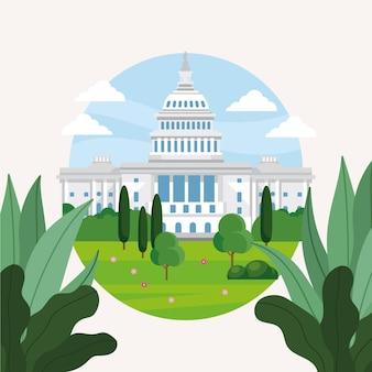Illustrazione dettagliata della casa bianca