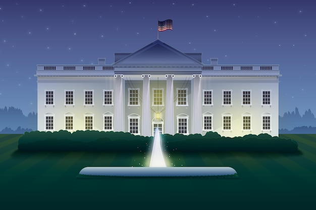 Detailed white house at night