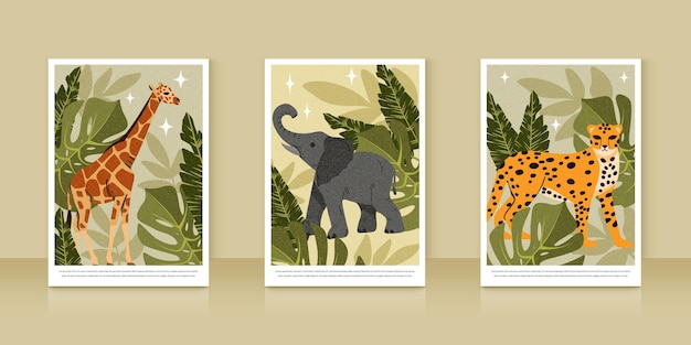 Detailed wild animals covers collection