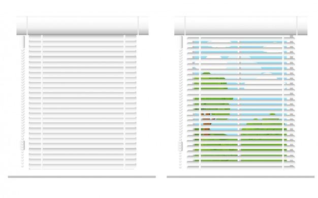 Подробная иллюстрация набора окон. архитектурные детали, оконные рамы, элементы интерьера. мультяшные шторы, жалюзи, драпировка, коллекция жалюзи в стиле. набор иконок окна