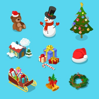 Detailed winter holiday object icon set of teddy bear snowman spruce village house gift hat sledge wreath merry christmas happy new year flat isometric concept web infographics template