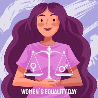 詳細な女性の平等の日のイラスト 無料ベクター