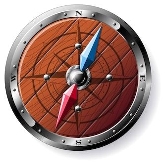Подробная деревянная иллюстрация компаса