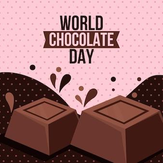 Detailed world chocolate day illustration