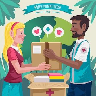 Illustrazione dettagliata della giornata mondiale umanitaria Vettore gratuito