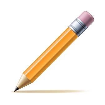 Detailed yellow pencil isolated.