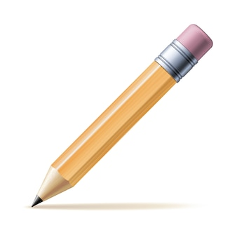 Detailed yellow pencil  on white background.  illustration