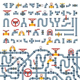 Детали труб различного типа, сборка водопроводных труб, газовая арматура, строительство, масло, промышленное давление, технология сантехники.