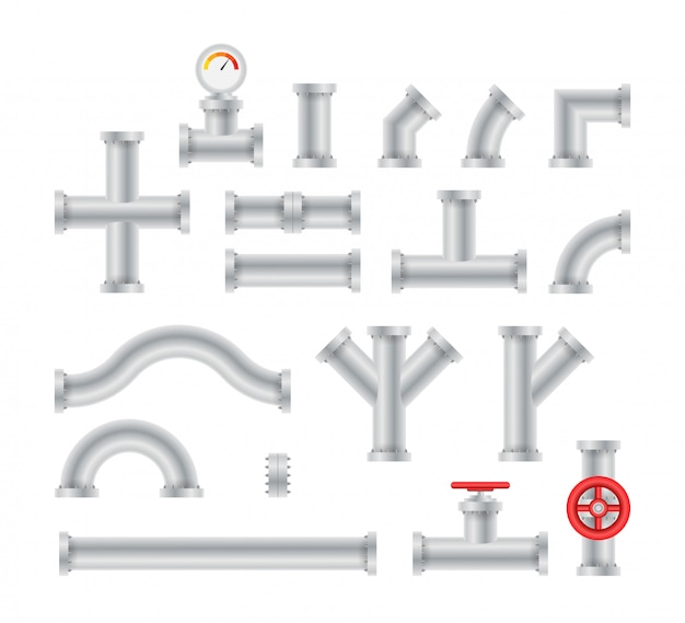Details pipes different types collection of water tube industry gas valve construction.