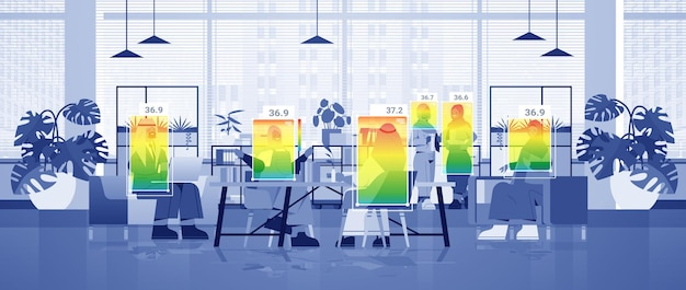 Detecting elevated body temperature of arab businesspeople in office checking by non-contact thermal ai camera stop coronavirus outbreak concept horizontal vector illustration