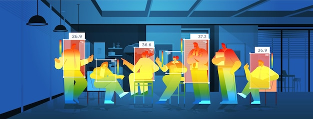 Detecting elevated body temperature of businesspeople in office checking by non-contact thermal ai camera stop coronavirus outbreak concept horizontal vector illustration