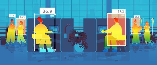 비접촉 열 ai 카메라 정지 코로나바이러스 발병 개념 수평 벡터 삽화로 확인하는 사무실에서 사업가의 체온 상승 감지